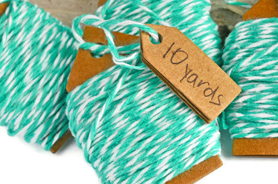 Bakers twine . 20 yards. mint and white . (10 yards rolls) . gift wrap . packaging . scrapbook . decoration . cord . string